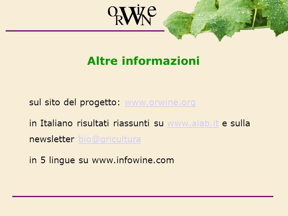 Altre informazioni sul sito del progetto: www.orwine.orgwww.orwine.org in Italiano risultati riassunti su www.aiab.it e sulla newsletter bio@griculturawww.aiab.itbio@gricultura in 5 lingue su www.infowine.com