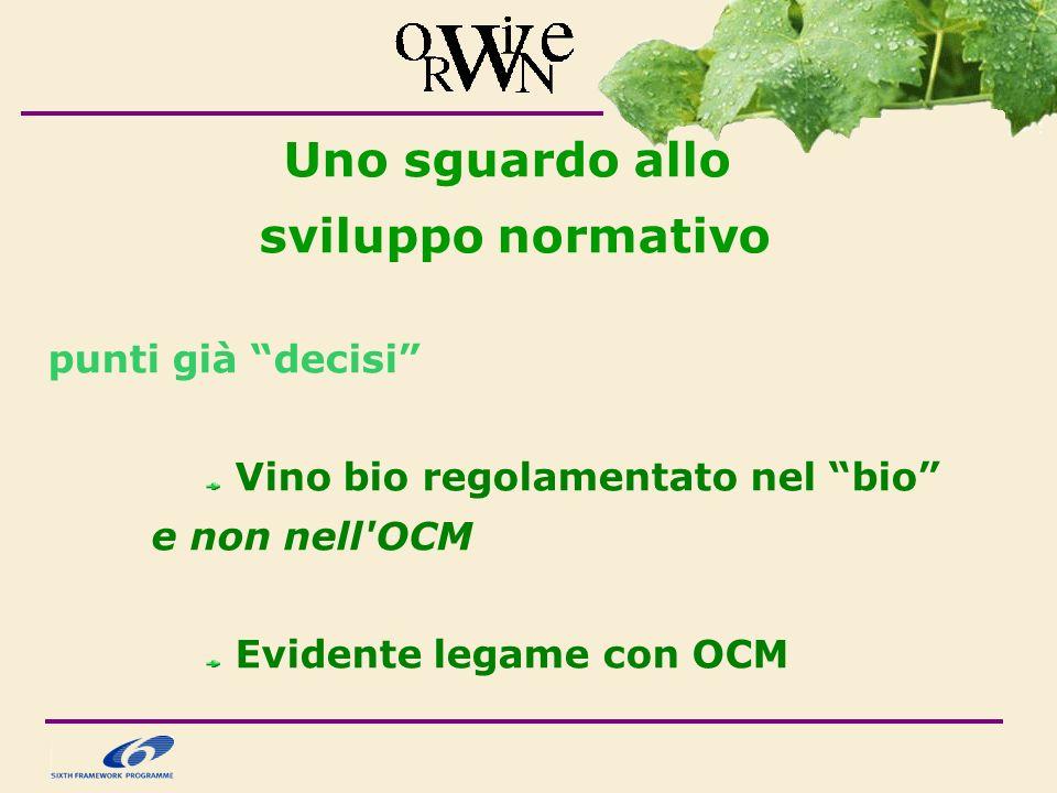 Uno sguardo allo sviluppo normativo punti già decisi Vino bio regolamentato nel bio e non nell OCM Evidente legame con OCM