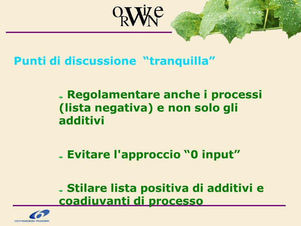Punti di discussione tranquilla Regolamentare anche i processi (lista negativa) e non solo gli additivi Evitare l approccio 0 input Stilare lista positiva di additivi e coadiuvanti di processo