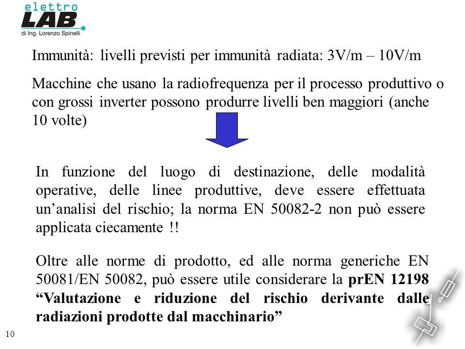 10 Immunità: livelli previsti per immunità radiata: 3V/m – 10V/m Macchine che usano la radiofrequenza per il processo produttivo o con grossi inverter