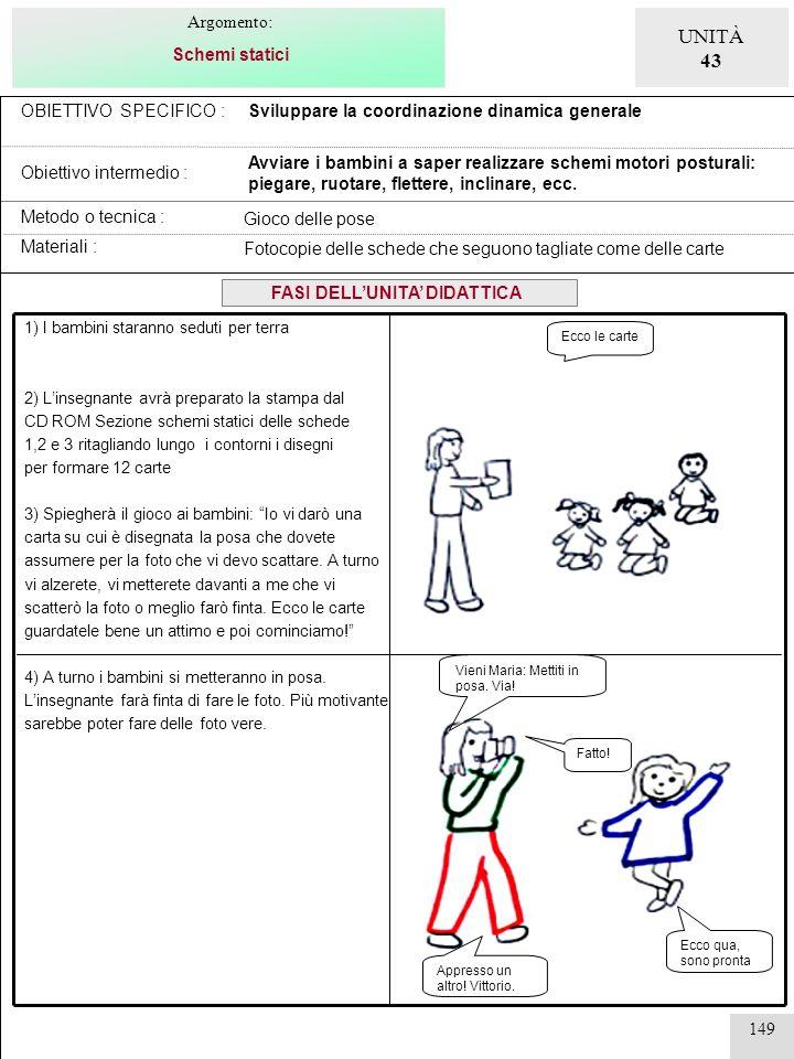 150 OBIETTIVO SPECIFICO : Obiettivo intermedio : Sviluppare la coordinazione dinamica generale Avviare i bambini a saper realizzare schemi motori dinamici: strisciare, rotolare, camminare carponi, camminare in piedi, correre,saltare, lanciare, ecc.