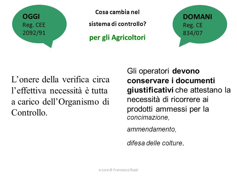 Cosa cambia nel sistema di controllo? per gli Agricoltori Lonere della verifica circa leffettiva necessità è tutta a carico dellOrganismo di Controllo