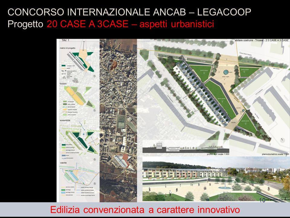 10 CONCORSO INTERNAZIONALE ANCAB – LEGACOOP Progetto 20 CASE A 3CASE – aspetti urbanistici Edilizia convenzionata a carattere innovativo