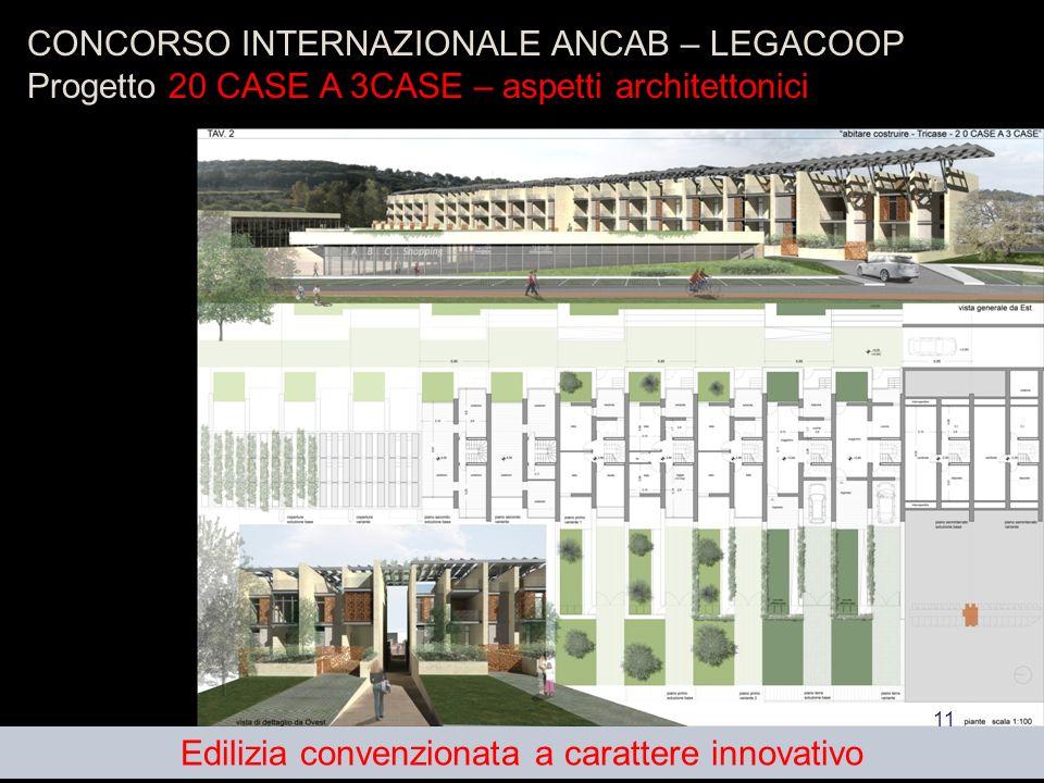 11 CONCORSO INTERNAZIONALE ANCAB – LEGACOOP Progetto 20 CASE A 3CASE – aspetti architettonici Edilizia convenzionata a carattere innovativo