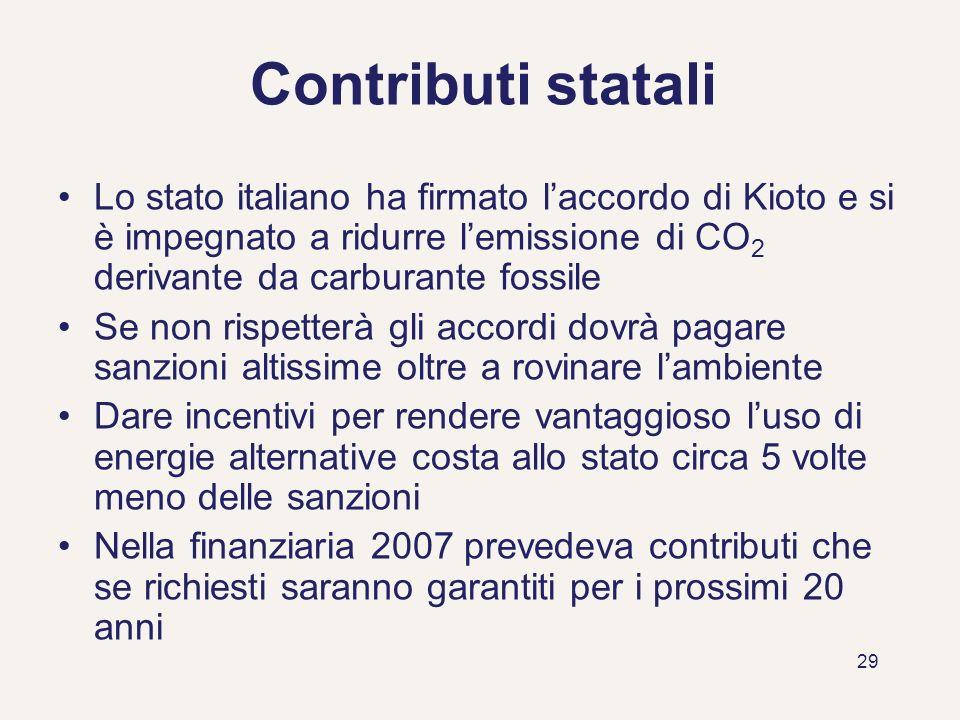29 Contributi statali Lo stato italiano ha firmato laccordo di Kioto e si è impegnato a ridurre lemissione di CO 2 derivante da carburante fossile Se
