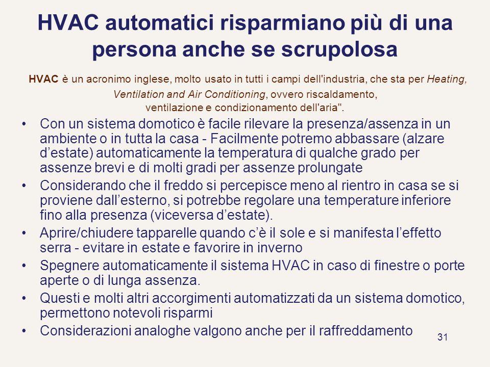 31 HVAC automatici risparmiano più di una persona anche se scrupolosa HVAC è un acronimo inglese, molto usato in tutti i campi dell'industria, che sta