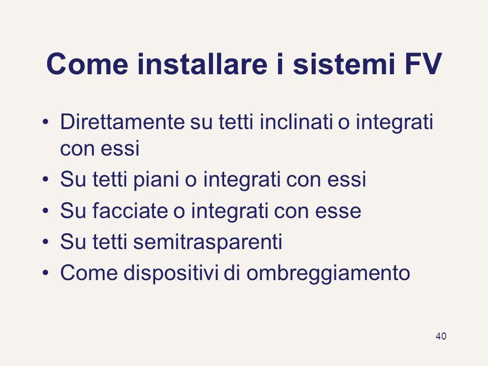 40 Come installare i sistemi FV Direttamente su tetti inclinati o integrati con essi Su tetti piani o integrati con essi Su facciate o integrati con e