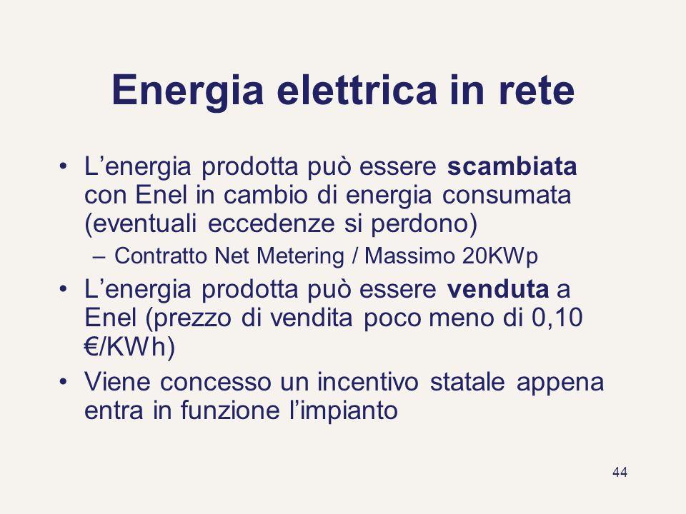 44 Energia elettrica in rete Lenergia prodotta può essere scambiata con Enel in cambio di energia consumata (eventuali eccedenze si perdono) –Contratt