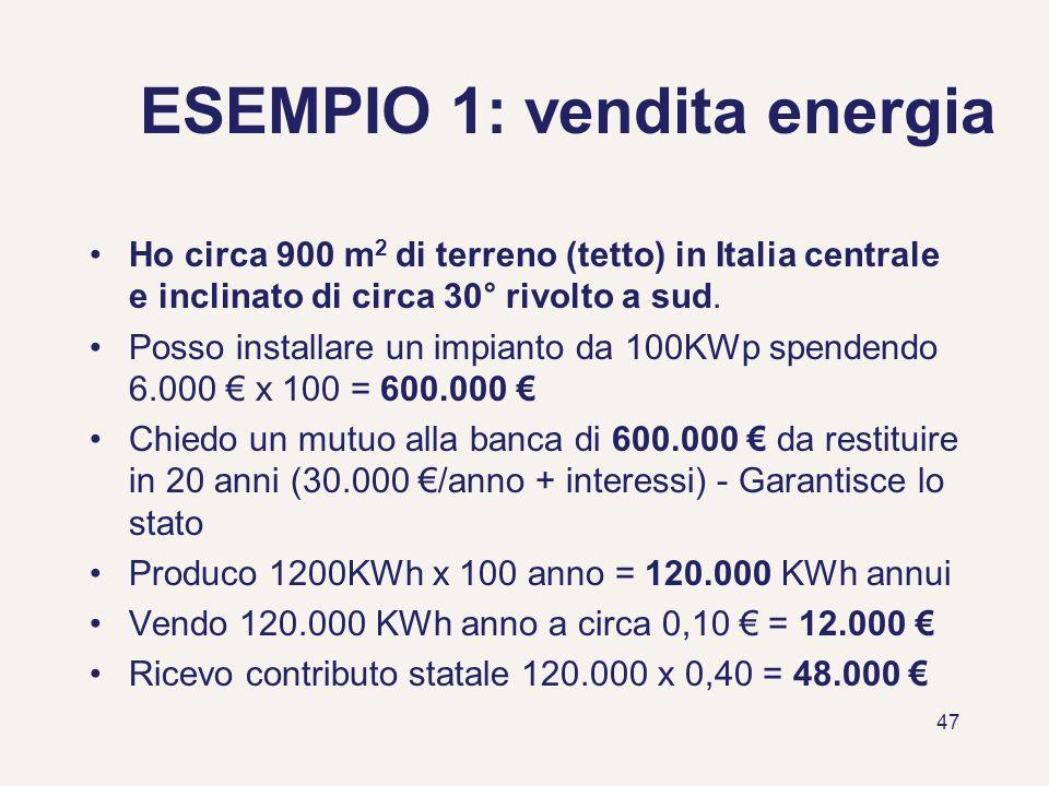 47 ESEMPIO 1: vendita energia Ho circa 900 m 2 di terreno (tetto) in Italia centrale e inclinato di circa 30° rivolto a sud. Posso installare un impia