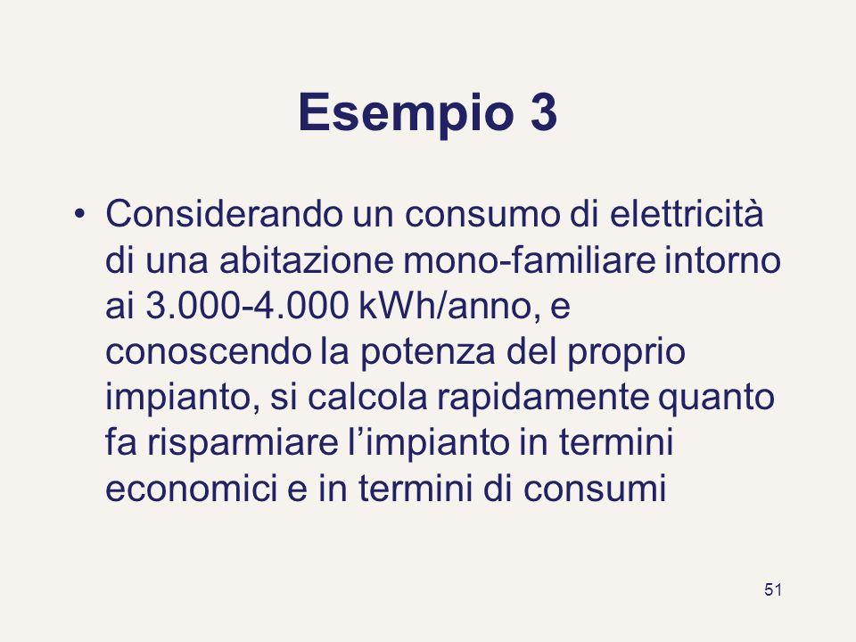 51 Esempio 3 Considerando un consumo di elettricità di una abitazione mono-familiare intorno ai 3.000-4.000 kWh/anno, e conoscendo la potenza del prop