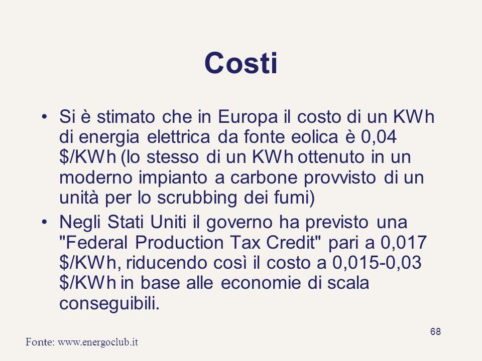 68 Costi Si è stimato che in Europa il costo di un KWh di energia elettrica da fonte eolica è 0,04 $/KWh (lo stesso di un KWh ottenuto in un moderno i