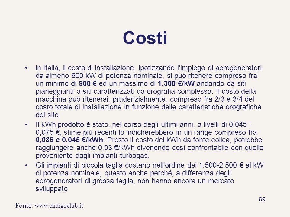 69 Costi in Italia, il costo di installazione, ipotizzando l'impiego di aerogeneratori da almeno 600 kW di potenza nominale, si può ritenere compreso