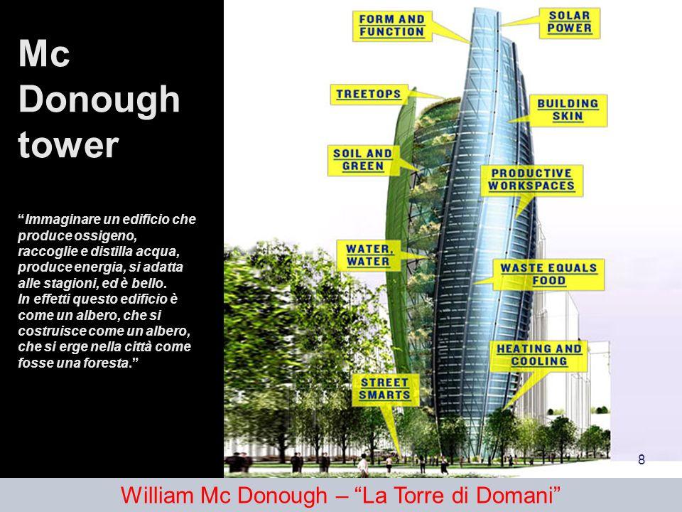 Mc Donough towerImmaginare un edificio che produce ossigeno, raccoglie e distilla acqua, produce energia, si adatta alle stagioni, ed è bello. In effe