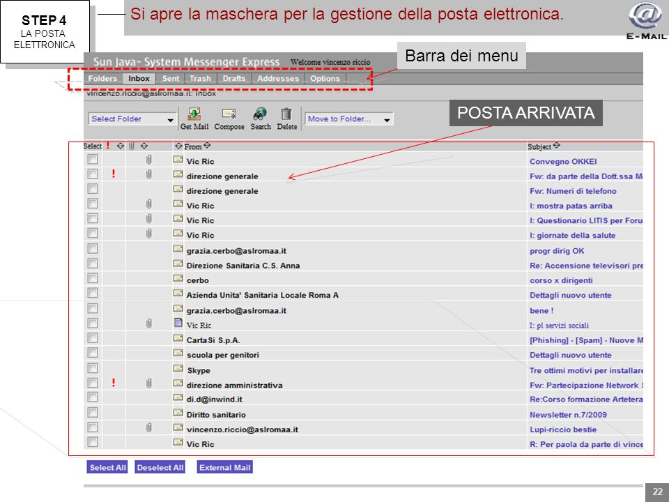 STEP 4 LA POSTA ELETTRONICA STEP 4 LA POSTA ELETTRONICA Si apre la maschera per la gestione della posta elettronica. Barra dei menu POSTA ARRIVATA 22