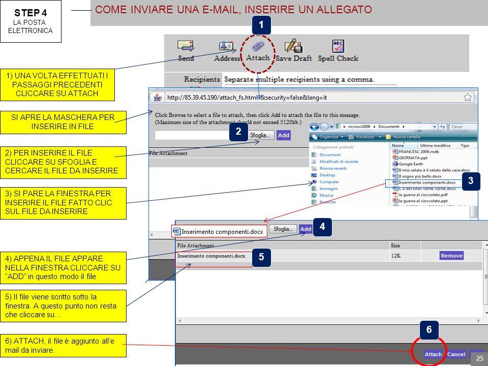 STEP 4 LA POSTA ELETTRONICA COME INVIARE UNA E-MAIL, INSERIRE UN ALLEGATO 1) UNA VOLTA EFFETTUATI I PASSAGGI PRECEDENTI CLICCARE SU ATTACH SI APRE LA