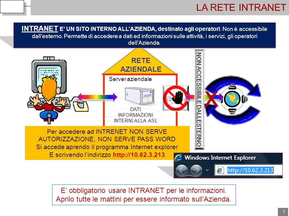 7 LA RETE INTRANET client Server aziendale RETE AZIENDALE INTRANET E UN SITO INTERNO ALLAZIENDA, destinato agli operatori. Non è accessibile dallester