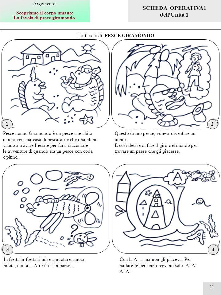 11 La favola di: PESCE GIRAMONDO 1 1 Pesce nonno Giramondo è un pesce che abita in una vecchia casa di pescatori e che i bambini vanno a trovare lesta