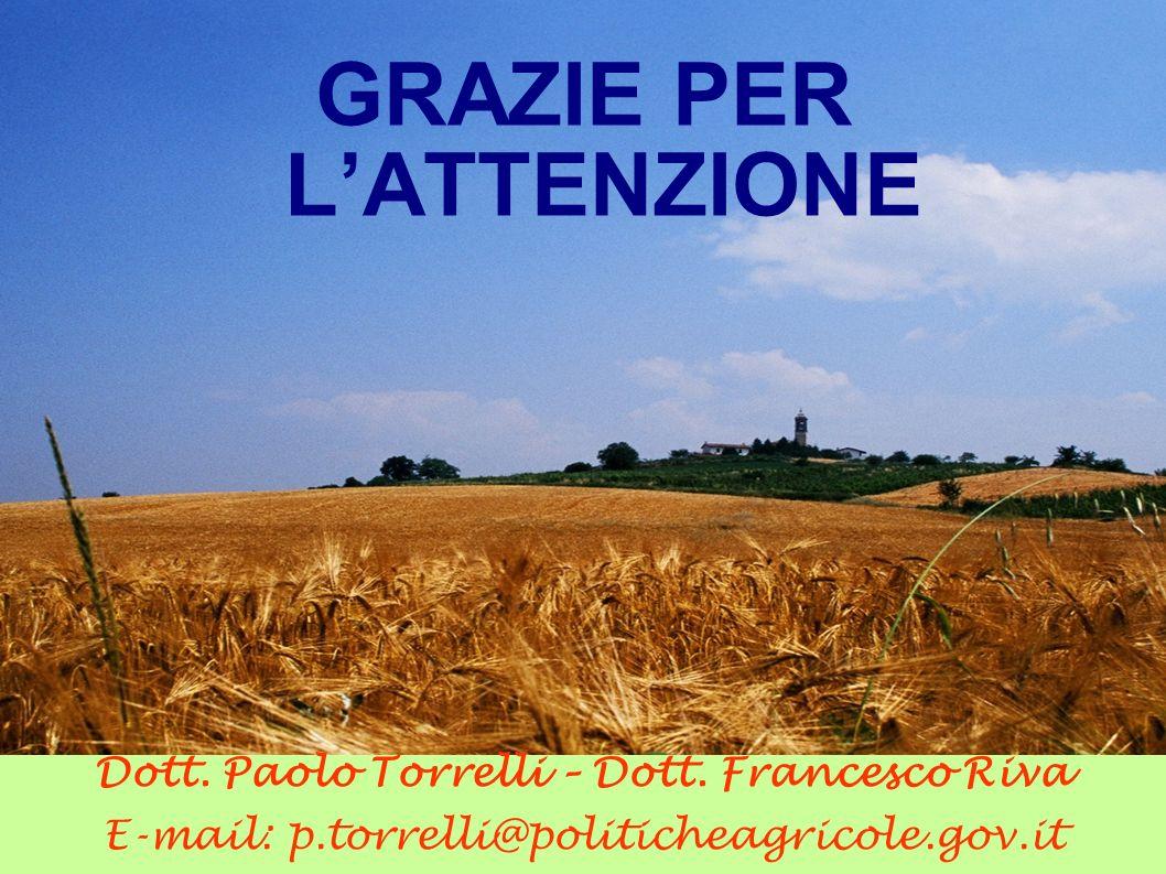 GRAZIE PER LATTENZIONE Dott. Paolo Torrelli – Dott. Francesco Riva E-mail: p.torrelli@politicheagricole.gov.it