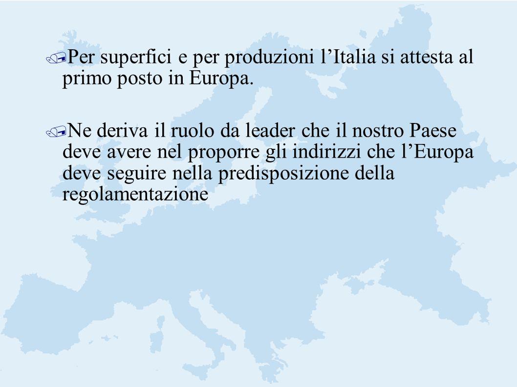 / Per superfici e per produzioni lItalia si attesta al primo posto in Europa. / Ne deriva il ruolo da leader che il nostro Paese deve avere nel propor