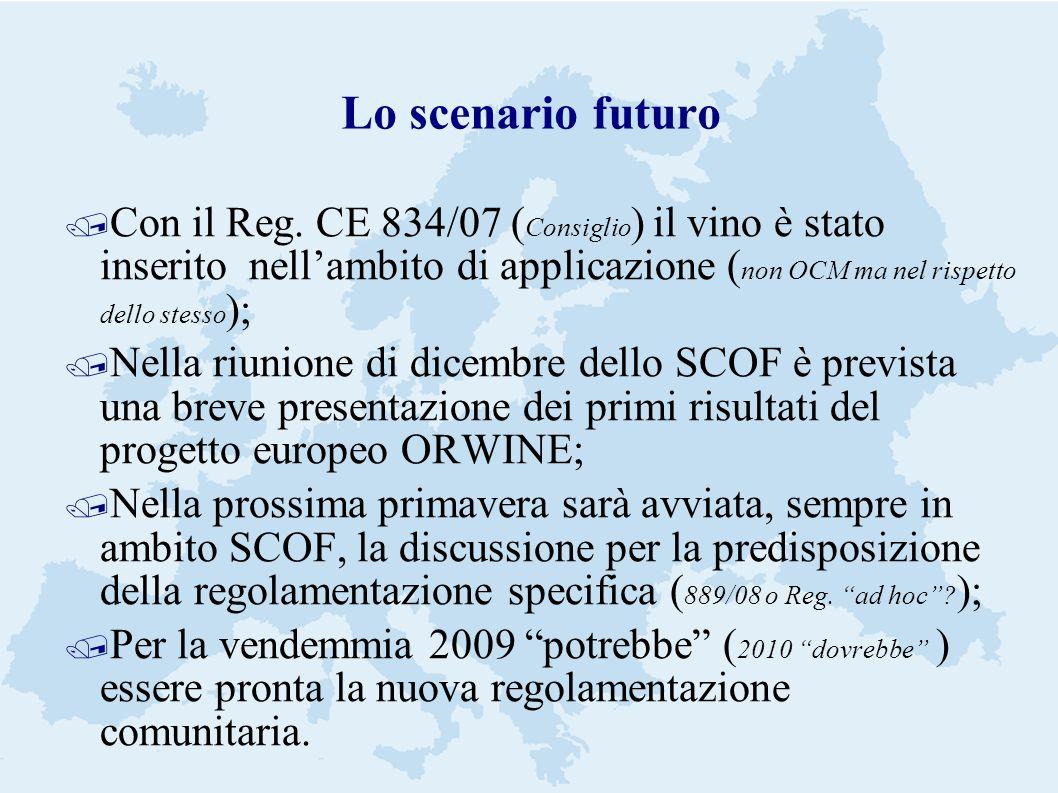 Lo scenario futuro / Con il Reg. CE 834/07 ( Consiglio ) il vino è stato inserito nellambito di applicazione ( non OCM ma nel rispetto dello stesso );