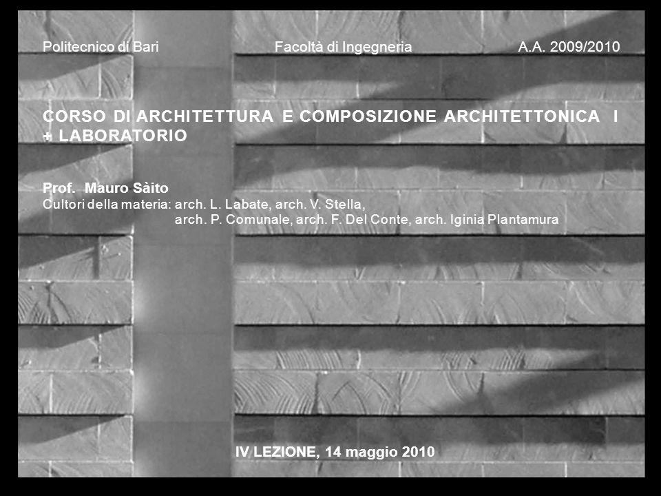 Politecnico di Bari Facoltà di Ingegneria A.A. 2009/2010 CORSO DI ARCHITETTURA E COMPOSIZIONE ARCHITETTONICA I + LABORATORIO Prof. Mauro Sàito Cultori