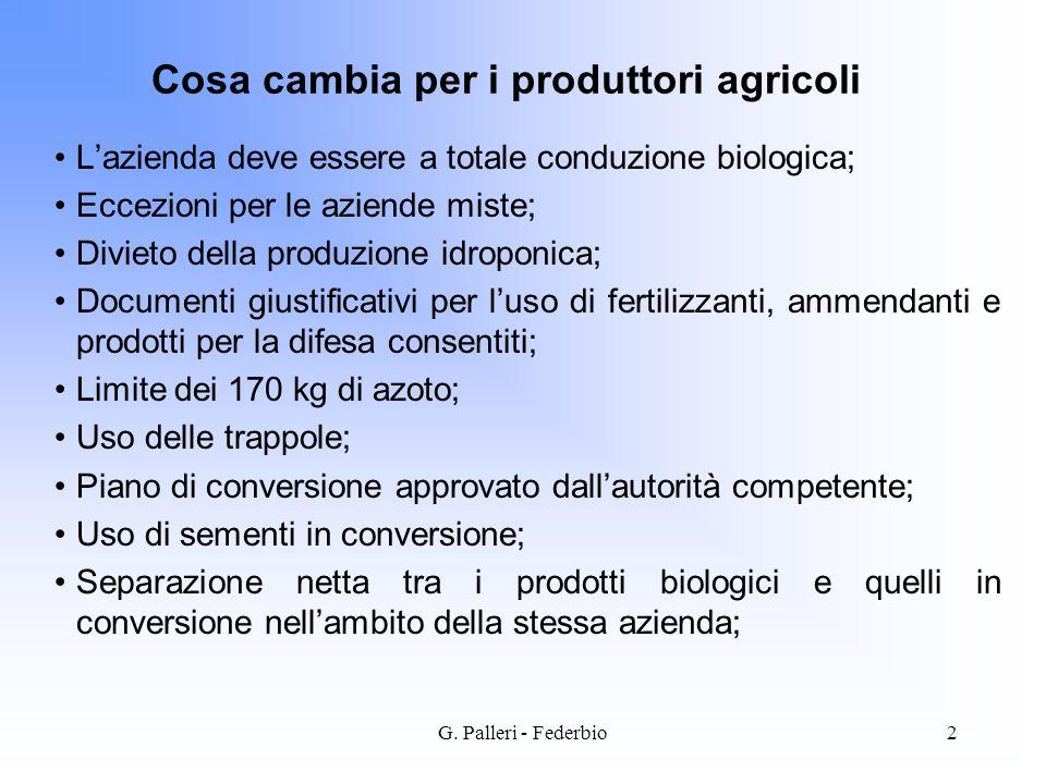 G. Palleri - Federbio2 Cosa cambia per i produttori agricoli Lazienda deve essere a totale conduzione biologica; Eccezioni per le aziende miste; Divie