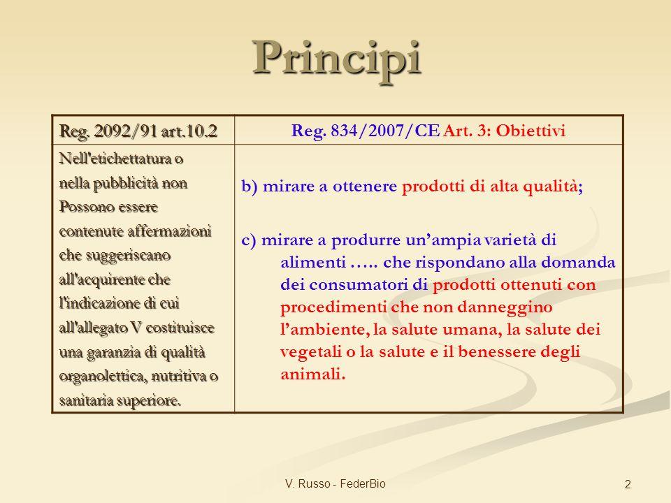 V. Russo - FederBio 2 Reg. 2092/91 art.10.2 Reg. 834/2007/CE Art. 3: Obiettivi Nell'etichettatura o nella pubblicità non Possono essere contenute affe