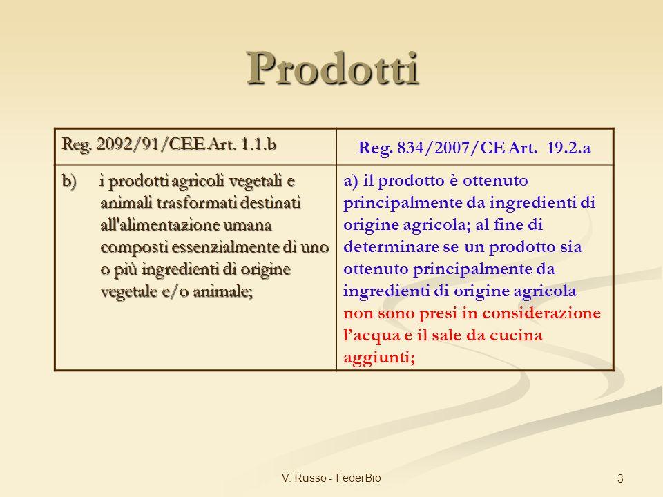 V. Russo - FederBio 3 Reg. 2092/91/CEE Art. 1.1.b Reg. 834/2007/CE Art. 19.2.a b) i prodotti agricoli vegetali e animali trasformati destinati all'ali