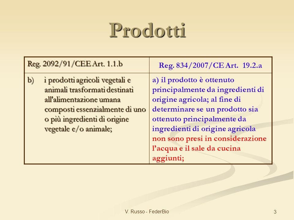 V.Russo - FederBio 3 Reg. 2092/91/CEE Art. 1.1.b Reg.