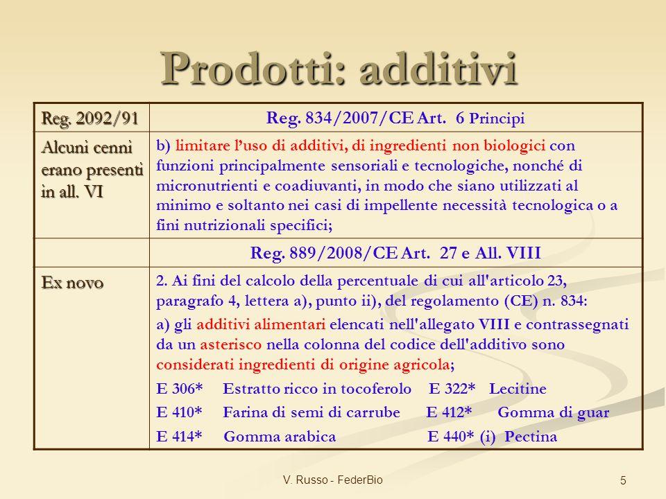 V. Russo - FederBio 5 Reg. 2092/91 Reg. 834/2007/CE Art. 6 Principi Alcuni cenni erano presenti in all. VI b) limitare luso di additivi, di ingredient