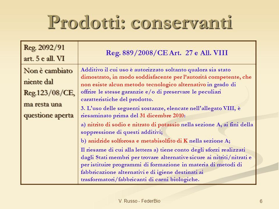 V. Russo - FederBio 6 Reg. 2092/91 art. 5 e all. VI Reg. 889/2008/CE Art. 27 e All. VIII Non è cambiato niente dal Reg.123/08/CE, ma resta una questio