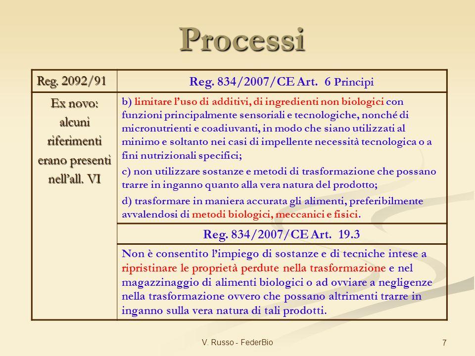 V. Russo - FederBio 7 Reg. 2092/91 Reg. 834/2007/CE Art. 6 Principi Ex novo: alcuniriferimenti erano presenti nellall. VI b) limitare luso di additivi