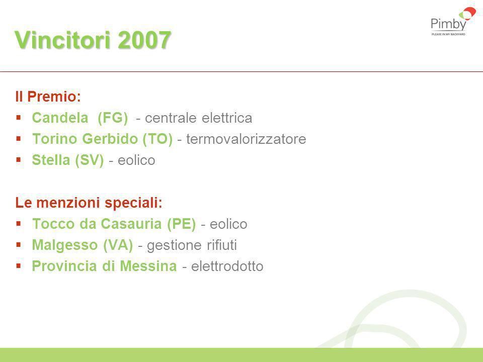 Vincitori 2007 Il Premio: Candela (FG) - centrale elettrica Torino Gerbido (TO) - termovalorizzatore Stella (SV) - eolico Le menzioni speciali: Tocco