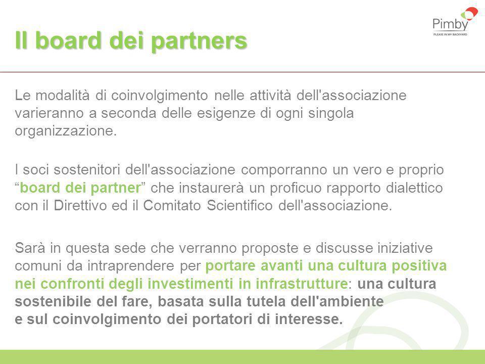 Il board dei partners Le modalità di coinvolgimento nelle attività dell'associazione varieranno a seconda delle esigenze di ogni singola organizzazion
