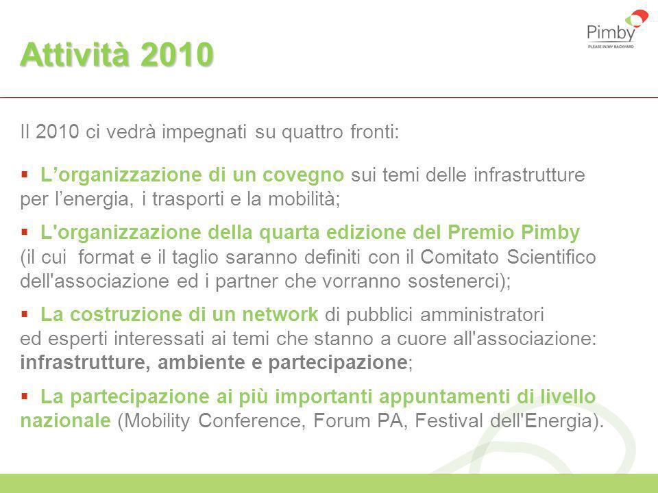 Attività 2010 Il 2010 ci vedrà impegnati su quattro fronti: Lorganizzazione di un covegno sui temi delle infrastrutture per lenergia, i trasporti e la