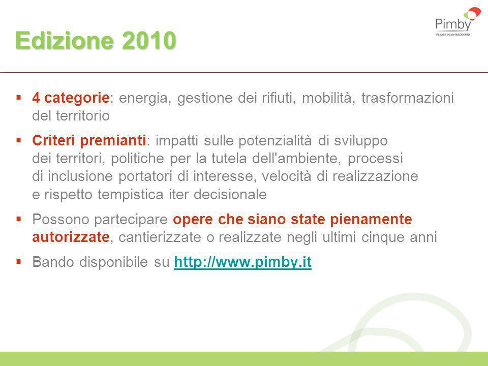 Edizione 2010 4 categorie: energia, gestione dei rifiuti, mobilità, trasformazioni del territorio Criteri premianti: impatti sulle potenzialità di svi