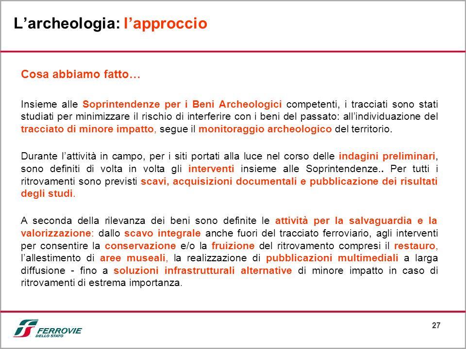 27 Larcheologia: lapproccio Cosa abbiamo fatto… Insieme alle Soprintendenze per i Beni Archeologici competenti, i tracciati sono stati studiati per mi