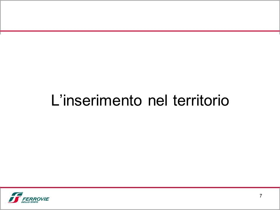 8 Le misure per linserimento delle linee AV/AC Il 20% degli investimenti per le linee Torino-Milano-Napoli è destinato a interventi per linserimento socio-ambientale.