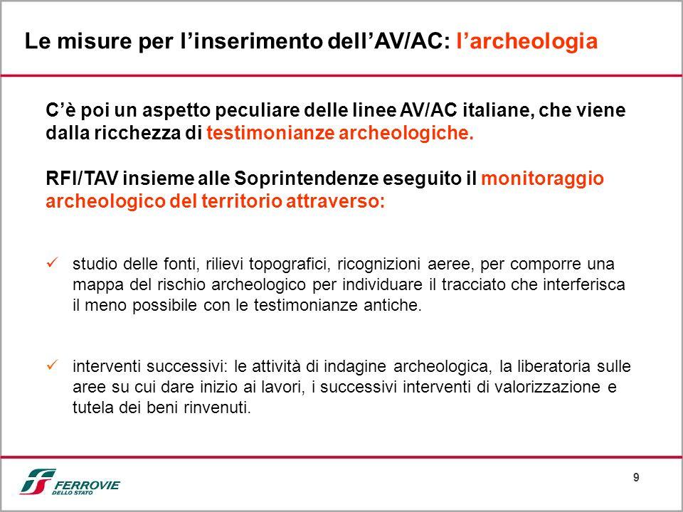 9 Le misure per linserimento dellAV/AC: larcheologia Cè poi un aspetto peculiare delle linee AV/AC italiane, che viene dalla ricchezza di testimonianz