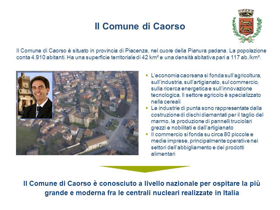Il Comune di Caorso Il Comune di Caorso è situato in provincia di Piacenza, nel cuore della Pianura padana.