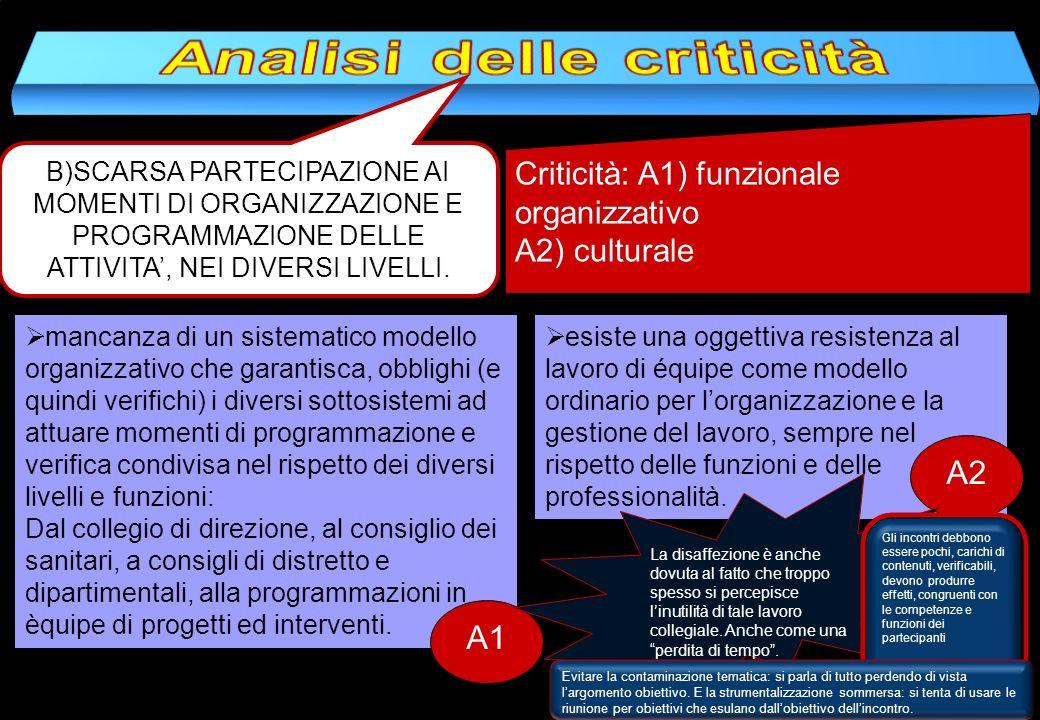 B)SCARSA PARTECIPAZIONE AI MOMENTI DI ORGANIZZAZIONE E PROGRAMMAZIONE DELLE ATTIVITA, NEI DIVERSI LIVELLI. Criticità: A1) funzionale organizzativo A2)