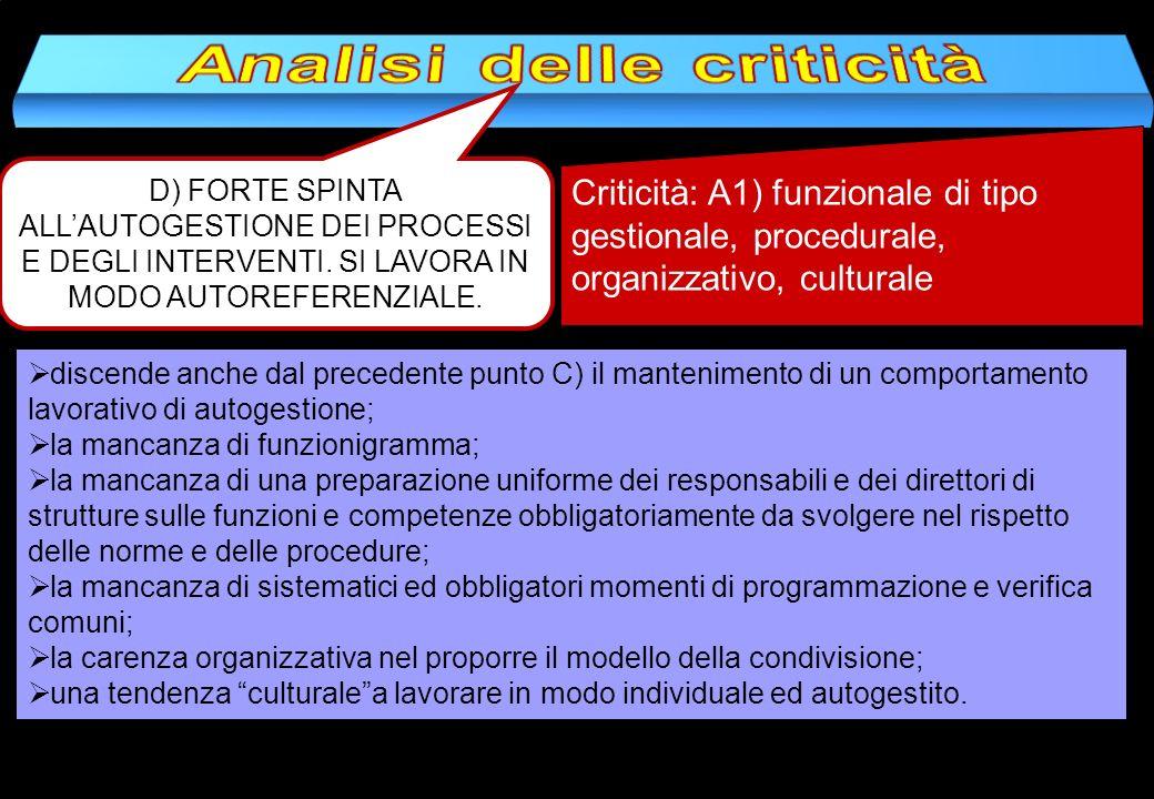 D) FORTE SPINTA ALLAUTOGESTIONE DEI PROCESSI E DEGLI INTERVENTI. SI LAVORA IN MODO AUTOREFERENZIALE. Criticità: A1) funzionale di tipo gestionale, pro