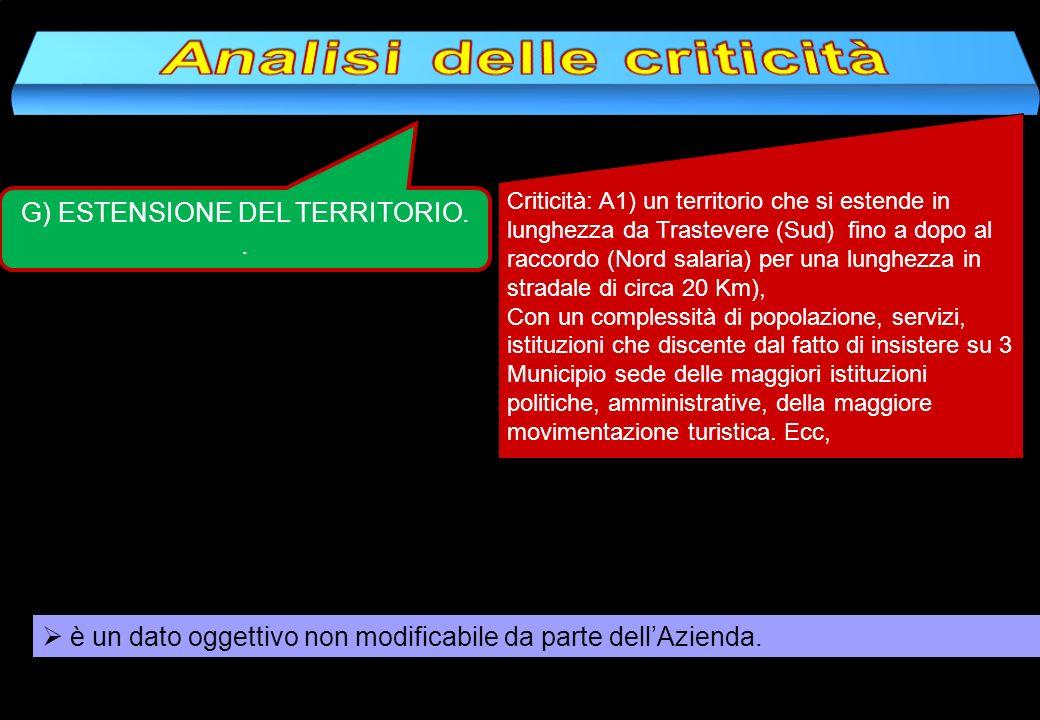 G) ESTENSIONE DEL TERRITORIO.. Criticità: A1) un territorio che si estende in lunghezza da Trastevere (Sud) fino a dopo al raccordo (Nord salaria) per