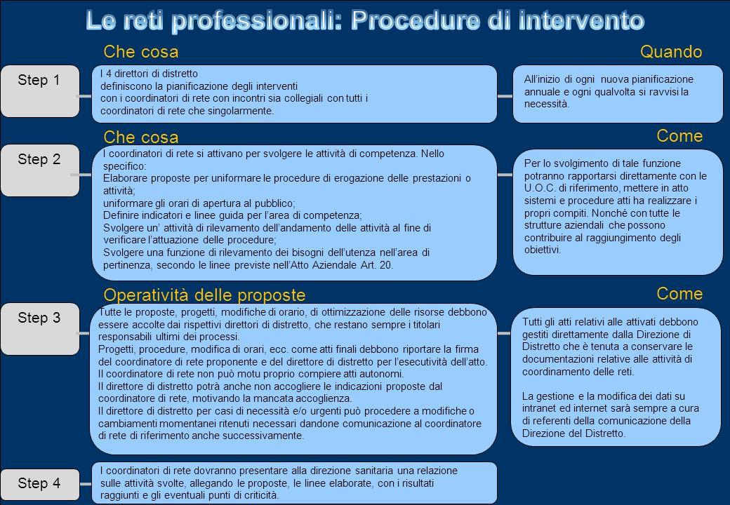Step 1 Che cosaQuando I 4 direttori di distretto definiscono la pianificazione degli interventi con i coordinatori di rete con incontri sia collegiali