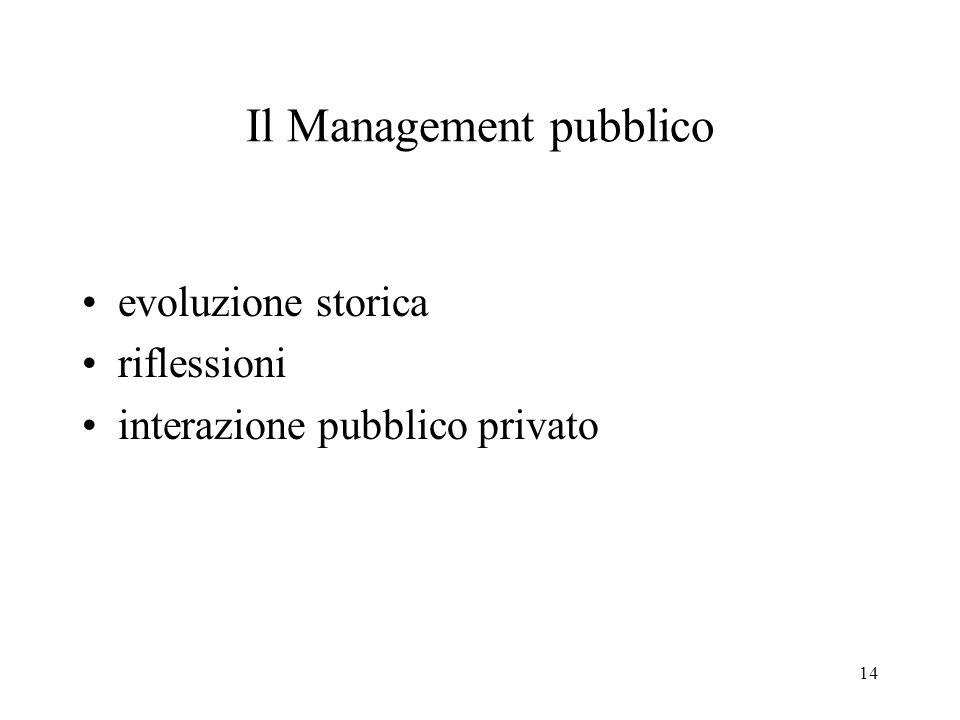 14 Il Management pubblico evoluzione storica riflessioni interazione pubblico privato