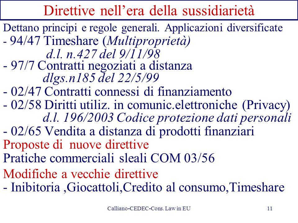 Calliano-CEDEC-Cons. Law in EU11 Direttive nellera della sussidiarietà Dettano principi e regole generali. Applicazioni diversificate - 94/47 Timeshar