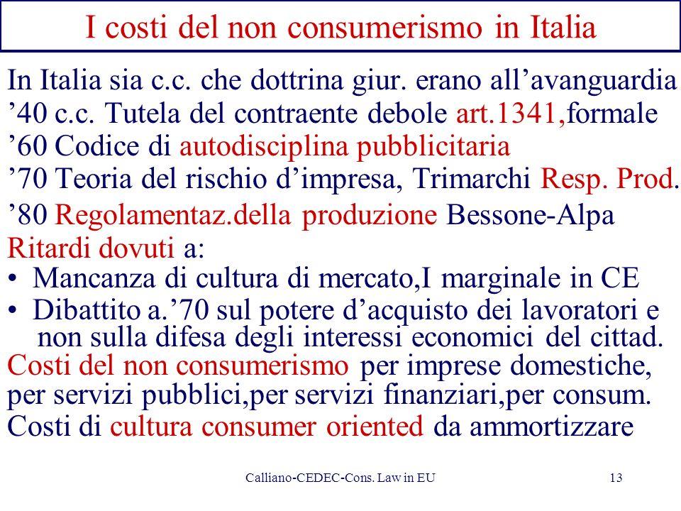 Calliano-CEDEC-Cons. Law in EU13 I costi del non consumerismo in Italia In Italia sia c.c. che dottrina giur. erano allavanguardia 40 c.c. Tutela del