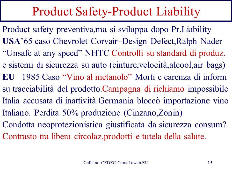Calliano-CEDEC-Cons. Law in EU15 Product Safety-Product Liability Product safety preventiva,ma si sviluppa dopo Pr.Liability USA65 caso Chevrolet Corv