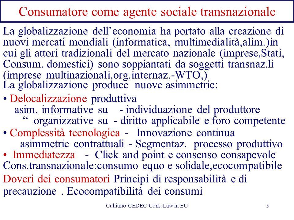 Calliano-CEDEC-Cons. Law in EU5 Consumatore come agente sociale transnazionale La globalizzazione delleconomia ha portato alla creazione di nuovi merc