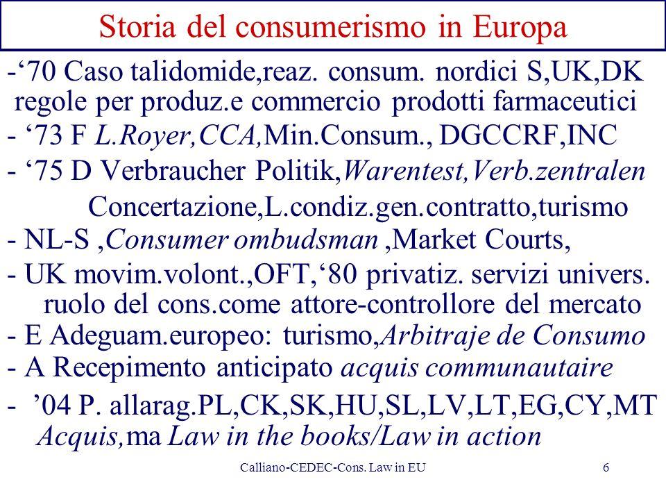 Calliano-CEDEC-Cons. Law in EU6 Storia del consumerismo in Europa -70 Caso talidomide,reaz. consum. nordici S,UK,DK regole per produz.e commercio prod